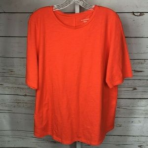 Eileen Fisher Short Sleeve Organic Cotton Blouse L
